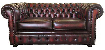 Vintage Style Chesterfield Genuine Leather Two Seater Sofa Antique Oxblood Red