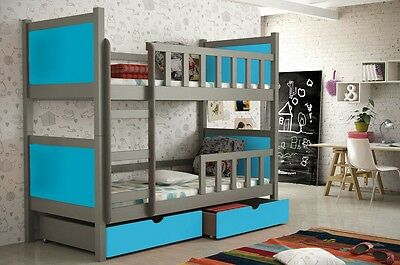 New Bunk Beds With Free Mattresses Storage Kids Wooden White Blue Triple P2