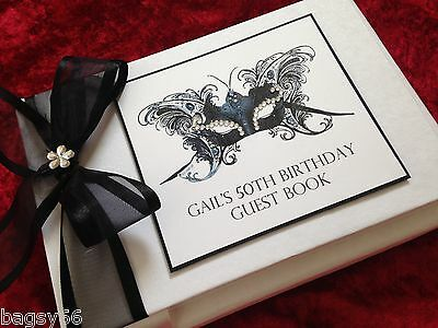 Personalised Birthday Guest Book Gift Boxed Masquerade Mask Sparkly 40th 50th