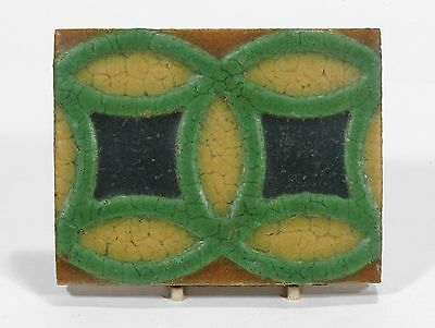 Grueby Pottery 4 color ring tile matte yellow green brown Arts & Crafts