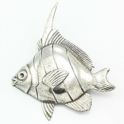 925 Sterling Silver Tropical Angel Fish Brooch Pin VINTAGE Ocean Beach Mermaid