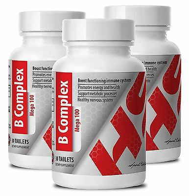 Immune System Suplements - B COMPLEX - All Day Supplement - 3 Bot 90 Ct