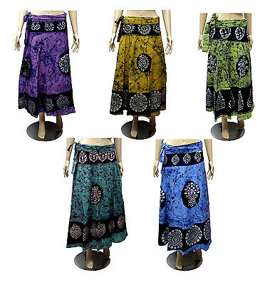 5pcs-100pcs Cotton Batik Printed Gypsy Long Wrap Around Skirts Wholesale Lot