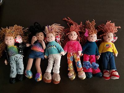 Lot of 6 Ty Beanie Boppers Plush Lovey Doll ~  Retired  New With Tags Poseable