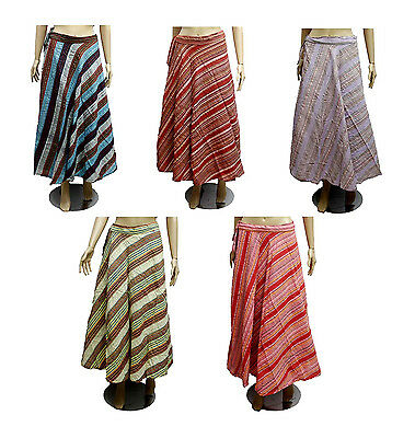 5pcs-100pcs Cotton Striped Gypsy Women's Long Wrap Around Skirts Wholesale Lot