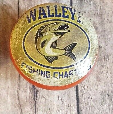 "Handmade Fishing Wood Knob, 1.5"" Cabinet Pull, Walleye Fishing Cabin Decor"