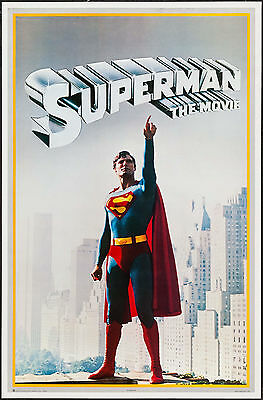 """Commercial Poster Superman the Movie 1978 VF+ 8.5 23""""x36"""" Christopher Reeve"""