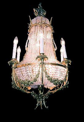 Antique 19th Century French Crystal & Gilt Bronze Chandelier (13 Lights)