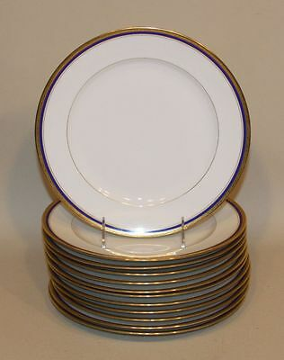 12 Ahrenfeldt Limoges Tice & Gates Rochester NY Gold Encrusted & Cobalt Plates