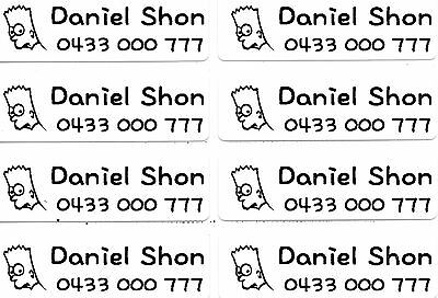 Large White Personalised IRON On Clothing Name Labels, Size 47x15mm