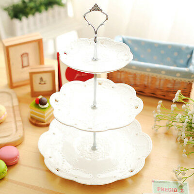 New Stainless Steel Tray Handle Cupcake Fruit Stand Wedding Display 2 / 3 Tier