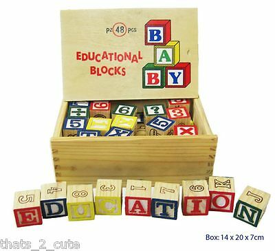 Wooden Educational Blocks 48 pieces Letters Numbers ABC Alphabet 123 Toy