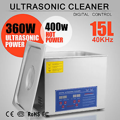 New Stainless Steel 15L Liter Industry Heated Ultrasonic Cleaner Heater Timer