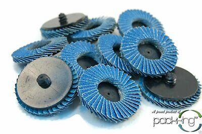 "(10pk) 2"" Inch 60 Grit Flap Sanding Disc Wheels Type R Roloc Threaded Twist Lock"