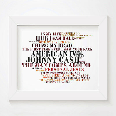 `Stoned Love` JOHNNY CASH Art Print Typography Album Song Lyrics Signed Poster