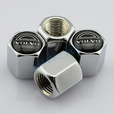 Silver Auto Accessory Wheel Rim Stem Tire Tyre Valve Air Caps Hold For Volvo