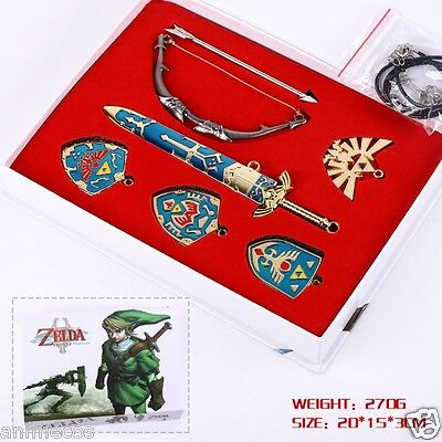 The Legend of Zelda Necklace keychain Pendant 6pcs Set Collection New in Box