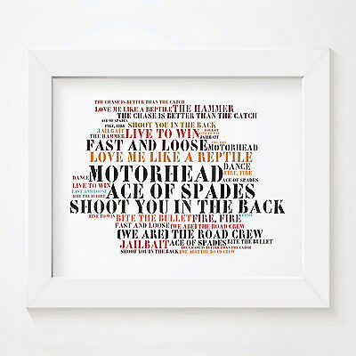 `Stoned Love` MOTORHEAD Art Print Typography Album Song Lyrics Signed Poster