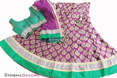 Deep Purple and Green Lehnga Choli Chaniya Sari Indian