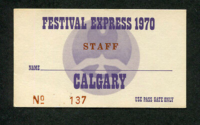 Original 1970 Festival Express concert staff ticket Janis Joplin Grateful Dead