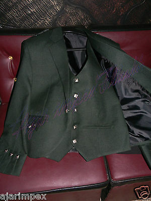 "SCOTTISH ARGYLE JACKET & VEST- Sizes 30""- 60"" S R L Olive Green Kilt Jacket"