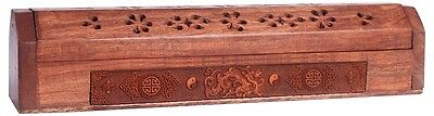 FindSomethingDifferent Engraved Wood Incense Holder Storage Box Chinese Dragon