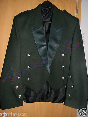 "• Scottish Prince Charlie Kilt Jacket With Waistcoat/Vest Size 30"" to 60"" Green"