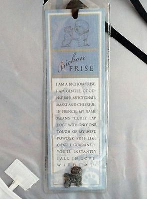 Russ Berrie and Co Purebred Puppies Bichon Frise Dog Bookmark & Pewter Pin NEW