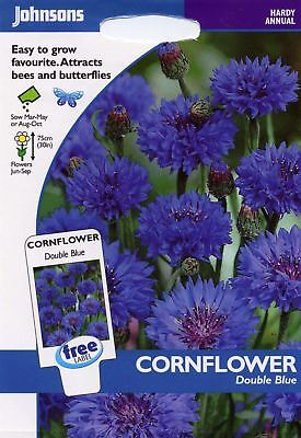 Johnsons Seeds - Pictorial Pack - Flower - Cornflower Double Blue - 250 Seeds