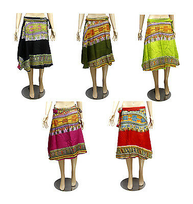 5pcs-100pcs Printed Hippie Gypsy Women's Short Wrap Around Skirts Wholesale Lot