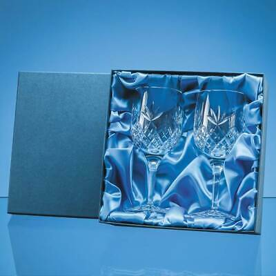 Personalised Pair Crystal Red Wine Goblets + Satin Lined Gift Box Birthday