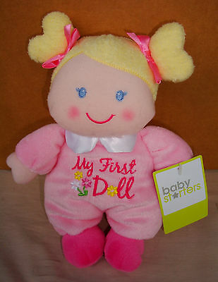 MY FIRST PLUSH DOLL BLONDE HAIR with Blue Eyes & Rattle $.99  NWT