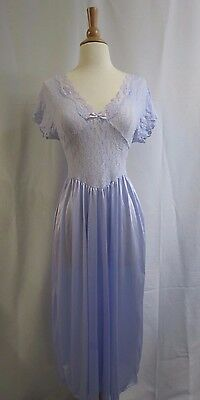Vintage Vandemere Nylon/Lace Night Sleep Dress/Full Slip Lilac made in usa S