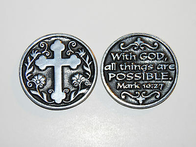 WITH GOD ALL THINGS ARE POSSIBLE Cross Token Christian Religious Coin Mark 10:27