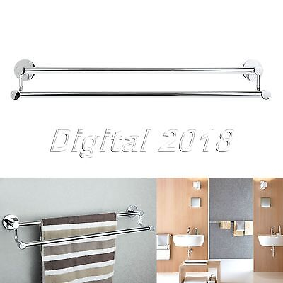 New Stainless Steel Double Bar Towel Rack Chrome Wall Mounted Towel Shelf Silver