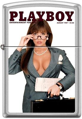 Zippo Playboy August 1989 Cover Satin Chrome Windproof Lighter NEW RARE
