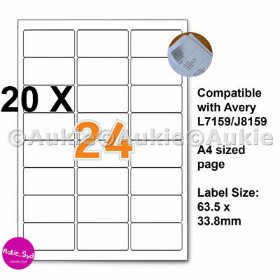 480 X Avery Compatible L7159/J8159  63.5x33.8mm Mailing Address Labels Laser/Ink