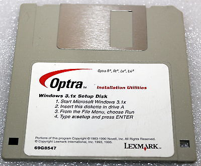 "LEXMARK OPTRA WINDOWS 3.1x SETUP DISK INSTALLATION UTILITIES 1995 2.5"" DRIVER"