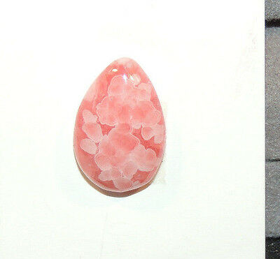 Pink Flower Rhodochrosite Cabochon 17.5x11.5mm with 5mm dome (10542)