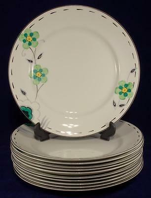 11 x Art Deco Floral Dinner Plates by J.H. Weatherby & Sons C.1936