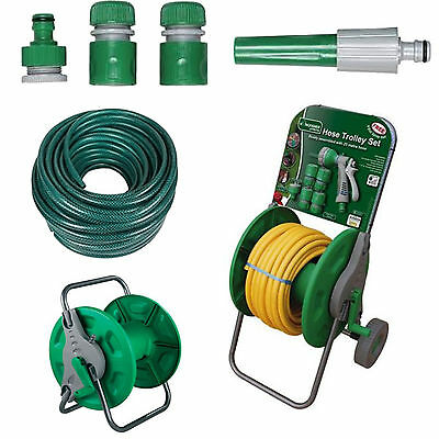 15M 30M 50M No Kink Reinforced Tough Garden Hose Reel Pipe Water Hosepipe Green