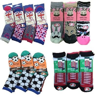 Boys Girls Kids Children 3 Pairs Football,Animal,Heart Shape,Sneaker socks