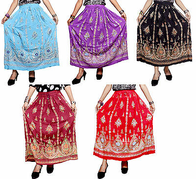 5pcs-100pcs Embroidered Hippie Boho Gypsy Sequin Work Long Skirts Wholesale Lot