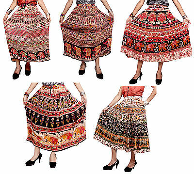 5pcs-100pcs Cotton Batik Printed Hippie Long Wrap Around Skirts Wholesale Lot