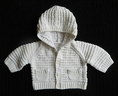 Baby clothes UNISEX BOY GIRL 7.5lb/3.4k white hooded cardigan Mothercare pockets