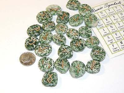 Tree Agate Engraved Rune Stone Set, with Symbols Chart and Cloth Bag (10548)