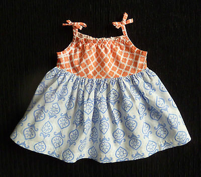 Baby clothes GIRL newborn 0-1m NUTMEG peach/white/blue cotton sleeveless dress