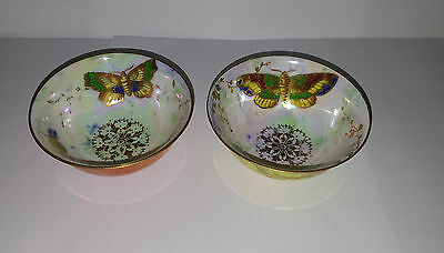 Two Rare Aynsley Butterfly Lustre Finger Bowls