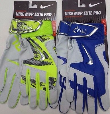 Nike Men's MVP Elite Pro 2.0 Batting Glove Volt/Bone, Blue GB0399 S,M,L,XL NEW