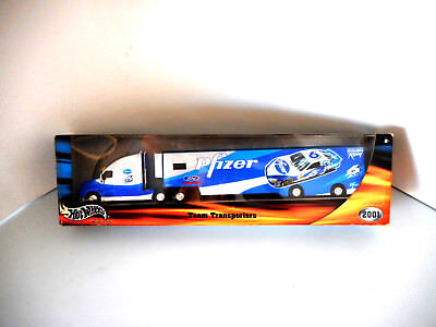 Hotwheels Nascar TeamTransporter Pfizer Collectable Metal Ford Racing Roush 2001